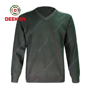 Deekon company manufacture dark green color V-neck collar  Long Sleeve Chinese military army wool sweater