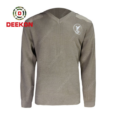 Deekon factory supply customized Grey color V-neck collar  Long Sleeve Sudan military army wool sweater