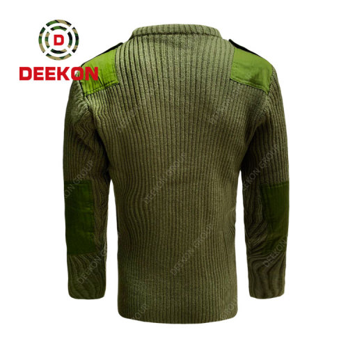 Deekon factory customized green color round-neck collar  Long Sleeve Malawi military army wool sweater