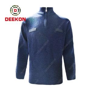 Deekon factory supply blue color 1/4 zipper collar  Long Sleeve Albania military army wool pullover