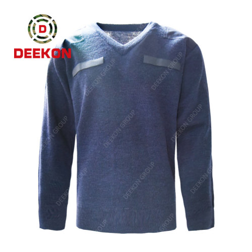 Deekon company manufacture blue color V-neck collar  Long Sleeve Albania military army wool sweater