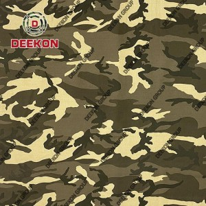 Desert Camouflage Factory T65/C35 Ripstop Fabric with Teflon for Military Cloth Supplier