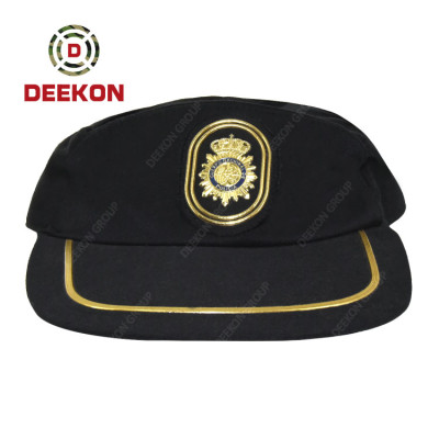 Deekon Factory Supply Black Color Cap with Logo for the Military Army