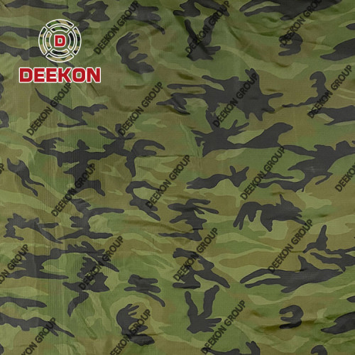100% Polyester Ripstop Woodland Camo Fabric with Waterproof PVC Coated for Thailand Raincoat Supplier