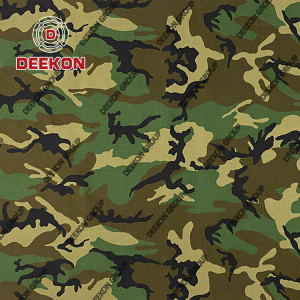 Wholesaler Woodland  Nylon 50% / Cotton 50% Camo Waterproof Fabric for Military Uniform