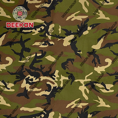 Bangladesh Woodland 100% Polyester Ripstop Camo Fabric with Water Repellant PVC Coated for Rainwear Poncho Supplier