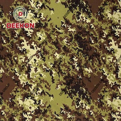 Supplier Italy Vegetato Woodlanf 100% Cotton Ripstop Camo Fabric with IRR for Military FROG Uniform