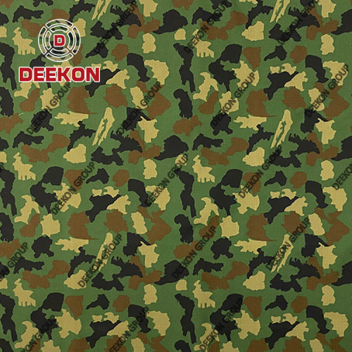 Supplier 100% Polyester Ripstop Woodland Camo Fabric with Waterproof PVC Coated for Nigeria Army