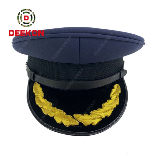 Deekon Supply Dark Blue Military Peaked Cap  Army Office Hat With Chin Strap