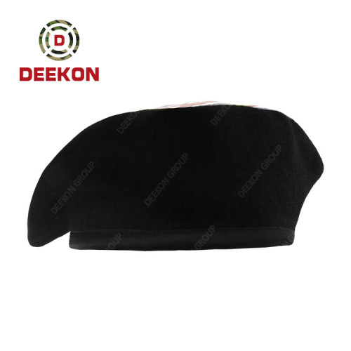 Deekon Supplier for Black Color Beret with Customized Printing Logo for Hungary customer