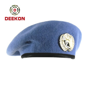 Deekon Factory for The United Nations Beret Cap with Metal Logo for Spain Army