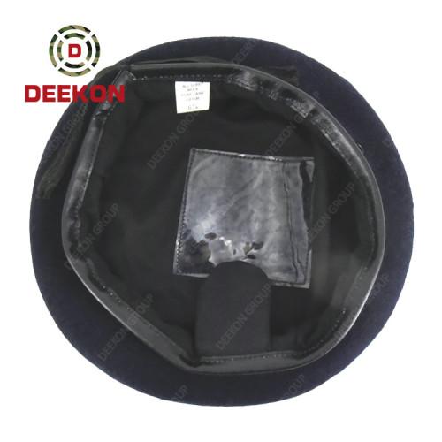 Tanzania Military Army Dark Blue 100% Wool Beret with Round Flap
