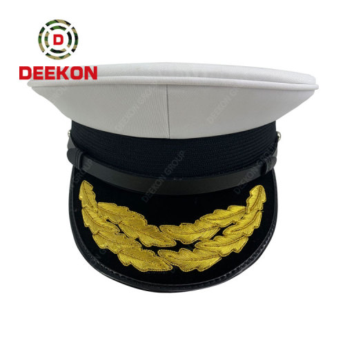 China Factory Supply White Color Korea Military Peak Cap Officer Ceremony Hat