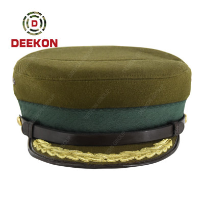 Deekon Manufacture Wool Material Officer Uniform Embroidered Peak Hat