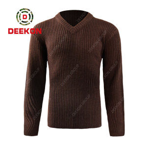 Deekon manufacture dark brown color V-neck collar  Long Sleeve Uganda military army wool sweater