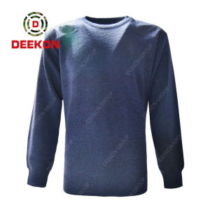 Deekon factory blue color round-neck collar  Long Sleeve Albania military army wool sweater