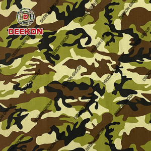 Ethiopia CVC 50/50 Ripstop Camoflage Fabric with Teflon for Military Apparel Supplier