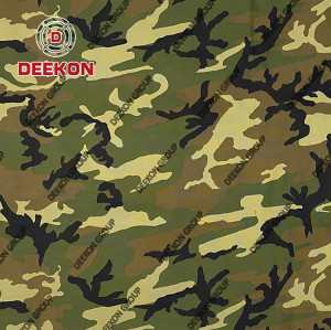 Wholesaler Woodland Plain 100% Polyester Camouflage Fabric with WR PU Coated for Military Poncho