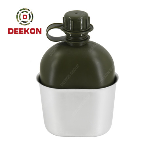 Army Green Plastic Military Water Bottle Supplier with Nylon Cover