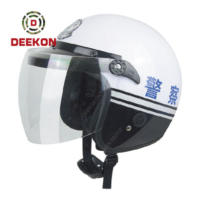 ABS White Curved surface Matt Shell Warning Anti Roit Tactical helmet With PC Visor