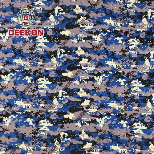 Supplier 100% Polyester Blue Digital Camo Fabric for Myanmar Police Bulletproof Vest