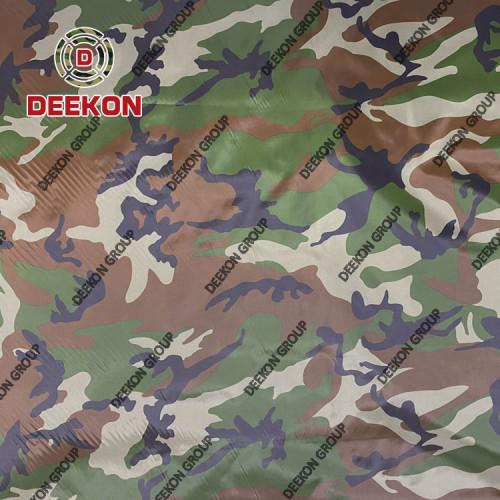 Manufacturer 100% Nylon PU Coated Woodland Camo Fabric for Poncho