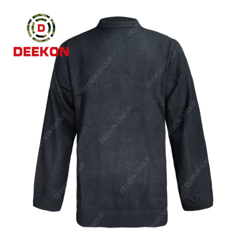 Deekon supply black Round-neck collar Long Sleeve military sweater pullover