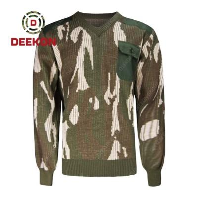 Deekon manufacture soft handfeel V-neck collar  Long Sleeve military wool sweater