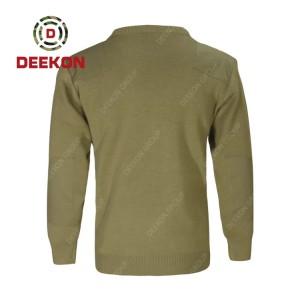 Deekon supply customized Khaki color round-neck collar  Long Sleeve Cyprus military army wool sweater