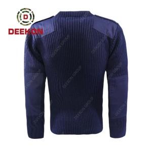 Deekon company supply navy blue color round-neck collar  Long Sleeve Uganda military army wool sweater