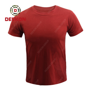 Deekon Shirt factory Red High Quality Short Sleeve Summer Men's combat Light Weight shirt