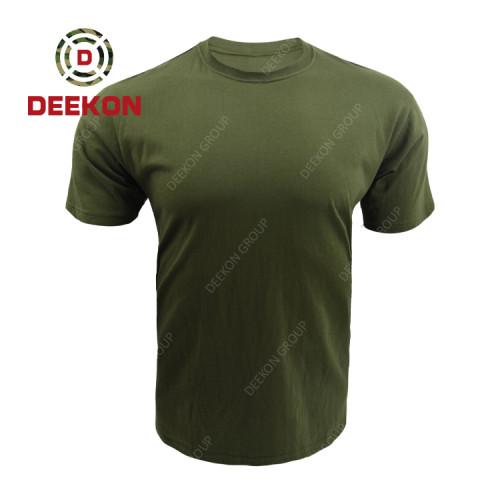 Military Clothing factory Custom Green 100% cotton Army Short Sleeve Breathable T Shirt
