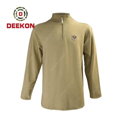 Deekon military shirt factory Army Supply 100% Cotton O-Shape Collar Long Sleeve Shirts with Zipper