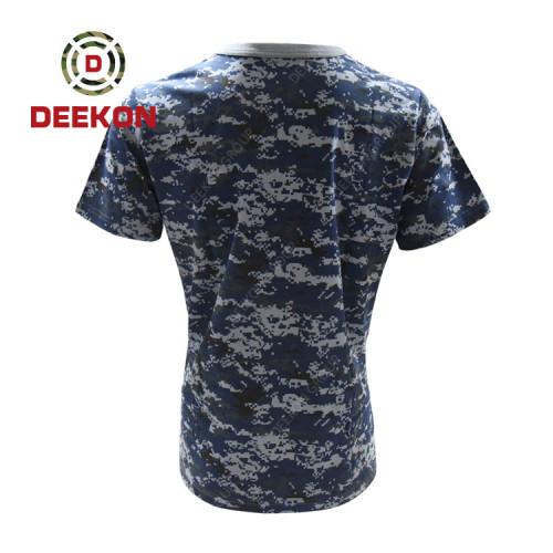 Deekon Military shirt supply Navy Blue Digital Camo 100% Cotton short sleeve Tshirt for Senegal