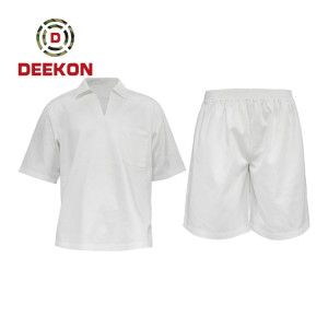 Deekon Military shirt supply White Breathable 100% Polyester short sleeve Tshirt for Malawi Prison