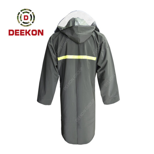 High Quality Raincoat factory 100% Waterproof Nylon Polyester Shell Rain Coat with Reflective Stripe