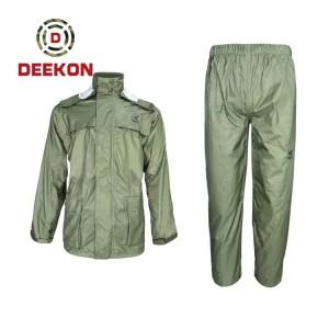 Ecofriendly Raincoat manufacture Custom Police Military Army 100% Polyester Rainwear with PU coated
