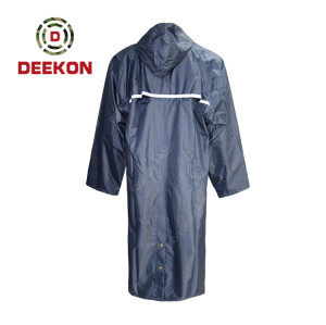 Military Raincoat factory Blue Waterproof Oil Resistant Raincoat PVC Coated with Reflective tape