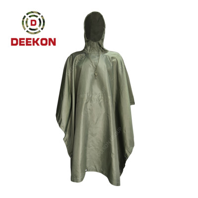 Deekon Military Poncho factory Army Green waterproof windproof 100% Polyester Rainwear