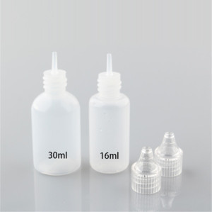 Sanle 30ml PE cosmo round squeeze bottle with dropper cap