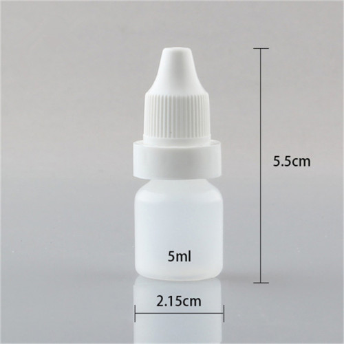 Sanle 5ml PE cosmo round travel size dropper bottle with pilfer proof cap