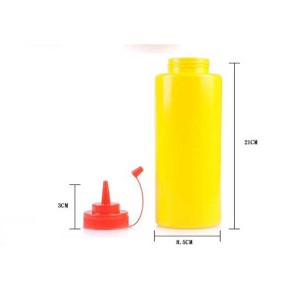 Sanle 500ml LDPE wide mouth cylinder plastic squeeze bottle with ketchup dispensing cap