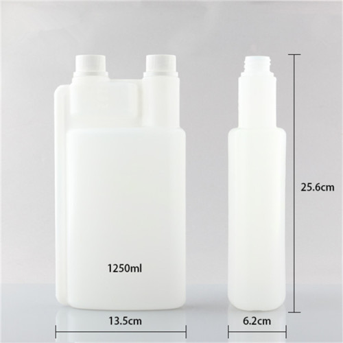 1250ml PE twice nech plastic bottle with screw-up caps
