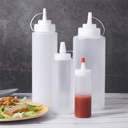 Sanle 120ml LDPE Sauce Squeeze Bottle with Red Tip Cap