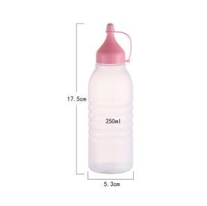 Sanle 250ml LDPE Plastic Squezze Bottle for Sauces with ketchup line cap