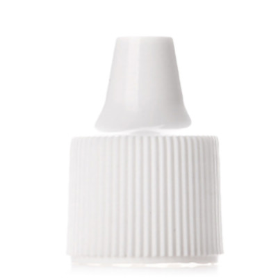 White unlined Polypropylene (PP) dropper tip cap with 18/410 neck finish