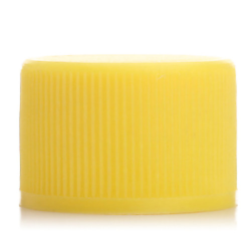 Yellow regular HDPE+EVA plastic screw caps with 20/410 neck finish