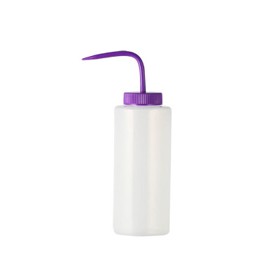 Sanle 500ml LDPE wide mouth cylinder plastic wash bottle for lab with bend mouth cap