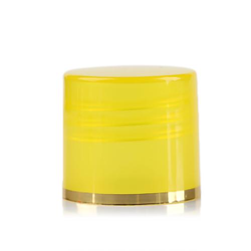 Yellow PP plastic bottle screw caps with 20-410 neck finish
