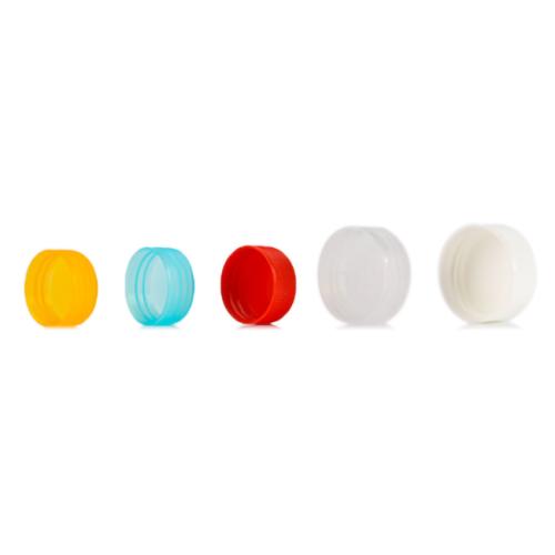 Colored PS plastic screw thread caps with 34-410 neck finish